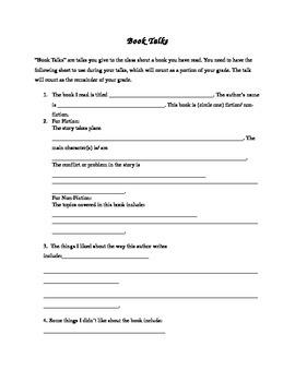 Book Talk Worksheet