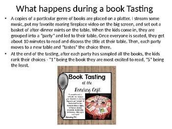 Book Tasting Layout and Signage