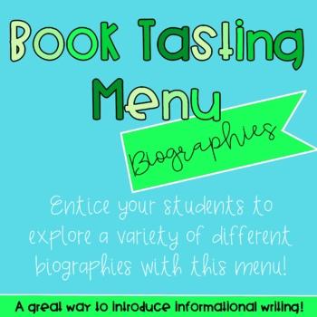 Book Tasting Menu - For Biographies