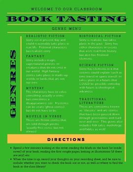Book Tasting Menu and Recording Sheet