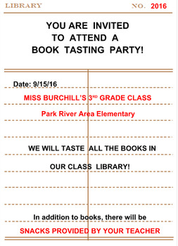 Book Tasting Party (Editable)