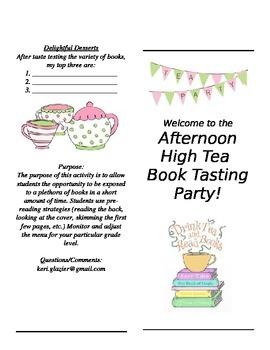 Book Tasting Tea Party Menu