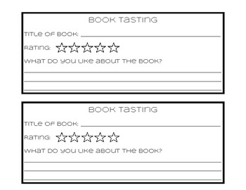 Book Tasting for Primary Grades
