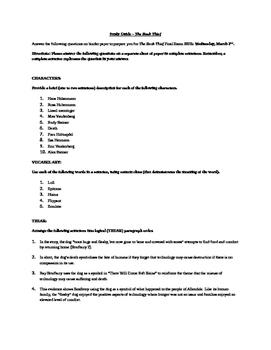 Book Thief Final Exam Study Guide