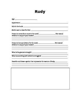Book Thief Main Character Organization Handout