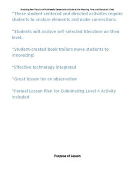 Book Trailer Project - Analyzing Multimedia Elements - Lesson Plans & Rubrics