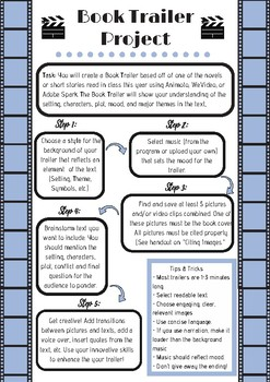 Book Trailer Project: Step by Step Directions, Planning Guide & Rubric