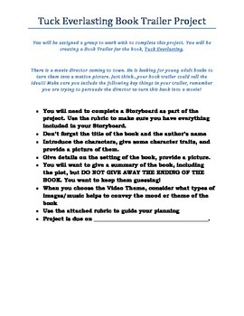Book Trailer Project and Rubric