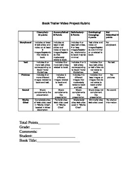 Book Trailer Project with Rubric