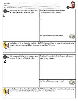 book trailer storyboard template by a little pizzaz tpt