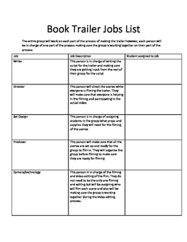 Book Trailers Job List