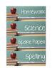 Book Tray Labels - Blackboard Theme