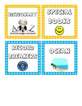Book Tub Labels - Upper Elementary