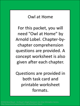 Owl at Home Literacy Unit