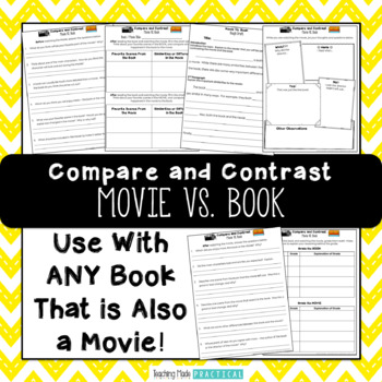movie vs book activities comparing books by kalena