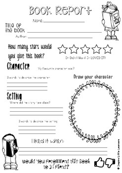 Book Week - Book Report Template