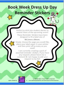 Book Week Dress Up Day Reminder Labels