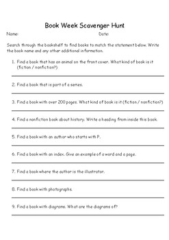 Book Week Scavenger Hunt
