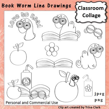 Book Worm Clip Art  Line Drawings  personal & commercial use