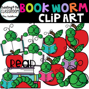 Book Worms Clip Art {Library and Books Clip Art}