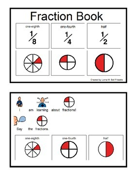Book about Fractions - eighth, fourth, half
