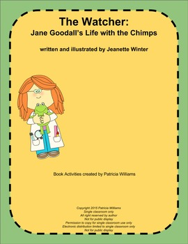 """Book activities for """"The Watcher: Jane Goodall's Life with the Chimps"""""""