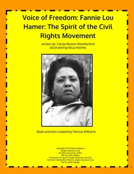 """Book activities for:  """"Voice of Freedom: Fannie Lou Hamer, ..."""""""