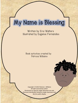 """Book activities for """"My Name is Blessing"""""""