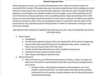 Memoir and Book Review Assignment Prompt and Rubric