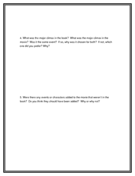 Book and Movie Comparison Activity Sheet