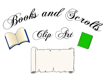 Book and Scrolls Clip Art