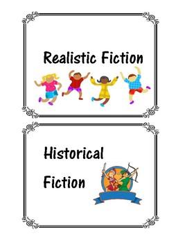 Book basket labels by genre