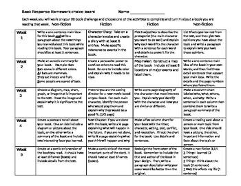 Book challenge log and weekly reading response homework calendar