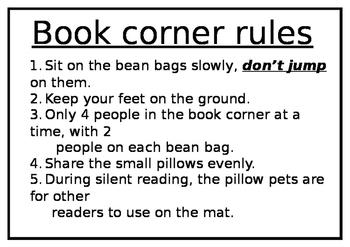 Book corner rules