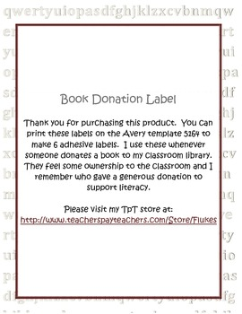 Book donation label