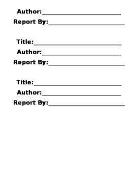 Book in a Bag Book Report!
