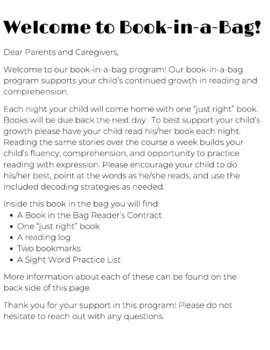 Back to School! No-Prep Book-in-a-Bag -everything you need for your BB program!