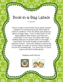 Book-in-a-Bag Labels