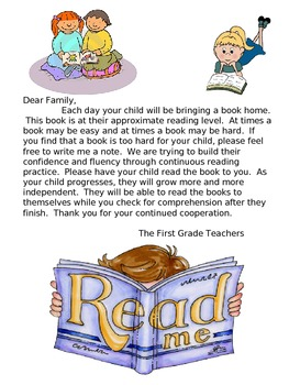 Book in a bag family letter