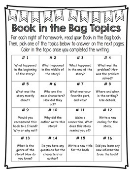 Book in the Bag Menu and Template