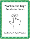 Book in the Bag reminder notes