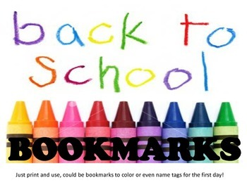 Book mark or Name Tag Printable- BACK TO SCHOOL
