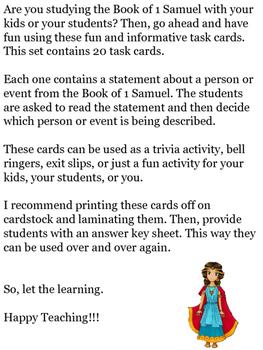 Book of 1 Samuel Task Cards