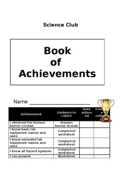 Book of Achievements for After school Science Club