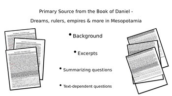 Book of Daniel Excerpts w guiding Questions: Mesopotamia Primary Source Activity