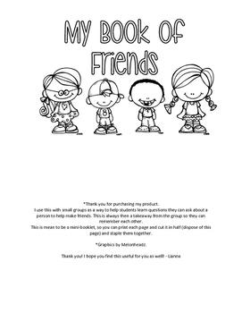 Book of Friends (mini-booklet)