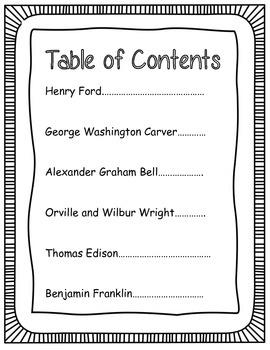 Book of Inventors Language Arts Social Studies Unit