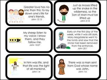 Book of John Bible Verse Printable Flashcards. Bible Study and Curriculum.