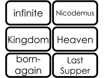 Book of John Vocabulary Words Printable Flashcards. Bible Study and Curriculum.