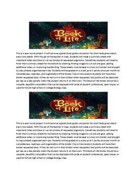 Book of Life Project Directions